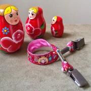attache doudou/serviette poupées russes