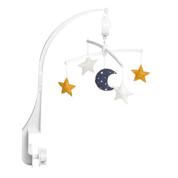 mobile musical lune et étoiles marine et moutarde