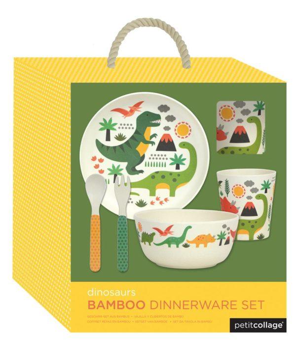 set vaisselle bambou dinosaure petit collage