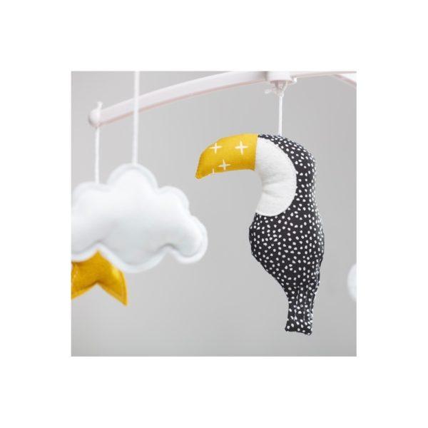 mobile toucan noir et jaune pouce et lina