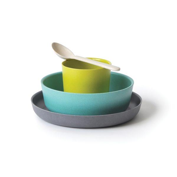 set vaisselle turquoise ekobo