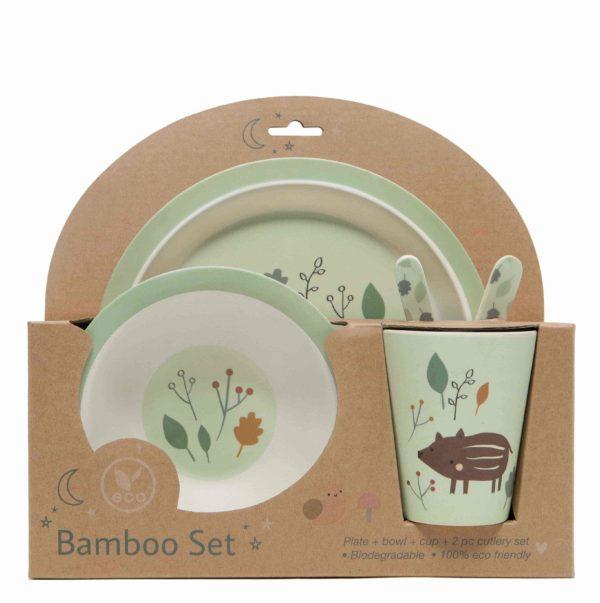 set vaisselle bambou sanglier petit monkey