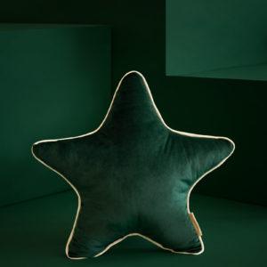 coussin velours star vert savanna nobodinoz