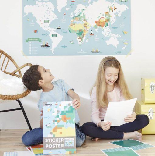 poster stickers carte du monde poppik
