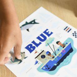 mini poster sticker bleu poppik