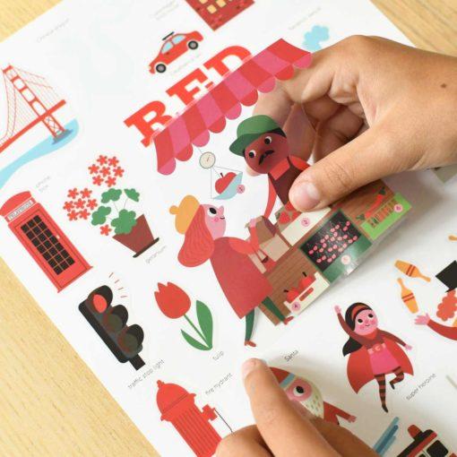 mini poster sticker rouge poppik
